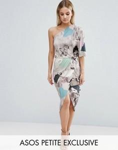 Платье миди с драпировкой и размытым мраморным принтом ASOS PETITE - Мульти
