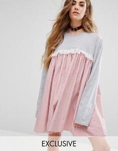 Платье с длинными рукавами и контрастной вставкой Reclaimed Vintage - Серый
