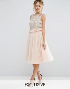 Юбка из тюля с присборенной талией Lace & Beads - Розовый