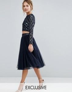 Комбинируемая юбка из тюля с декорированной талией Lace & Beads - Темно-синий