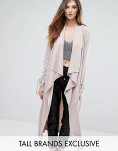 Легкое пальто с завязками на рукавах Missguided Tall - Stone