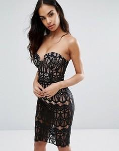 Платье-футляр из прозрачного кружева с лифом на косточках Rare London - Черный