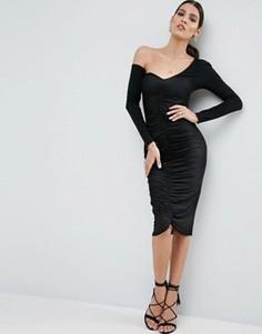 Облегающее платье миди со сборками ASOS - Черный