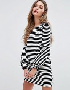 Полосатое платье-рубашка Boohoo Balloon - Мульти