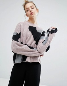 Вязаный джемпер с леопардовым принтом Weekday - Розовый