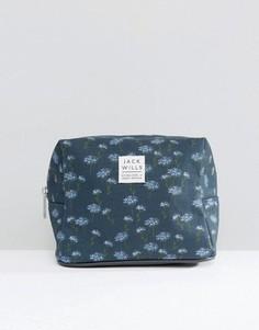 Темно-синяя косметичка с цветочным принтом Jack Wills - Темно-синий