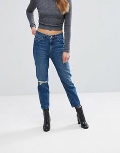 Джинсы в винтажном стиле с дыркой на колене New Look - Синий