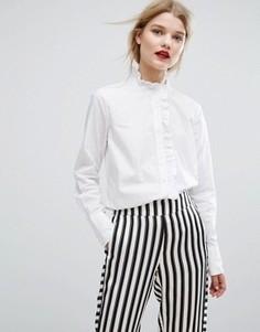 Рубашка с оборкой вдоль планки Gestuz Inesa - Белый
