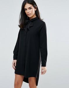 Платье-рубашка с длинными рукавами и завязкой спереди Unique 21 - Черный