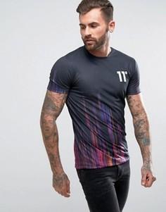 Черная обтягивающая футболка с цифровым принтом 11 Degrees - Черный