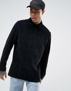 Черная длинная велюровая футболка-поло с длинными рукавами ASOS - Черный