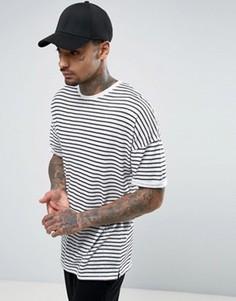 Удлиненная полосатая футболка с отворотами на рукавах ASOS - Белый