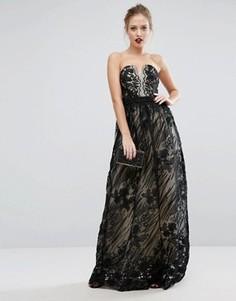 Кружевное платье макси Little Mistress - Черный
