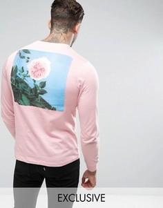 Розовый лонгслив с принтом розы на спине Hype - Розовый