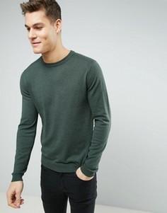Трикотажный джемпер с круглым вырезом Burton Menswear - Зеленый