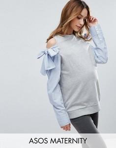 Свитшот с вырезами на плечах и рукавами в стиле рубашки ASOS Maternity - Серый