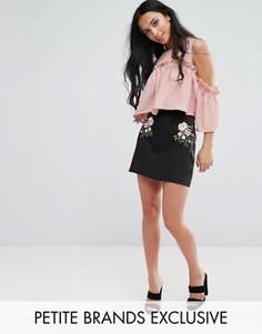 Мини-юбка с вышивкой Fashion Union Petite - Черный