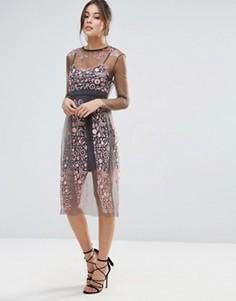 Платье с вышивкой Little White Lies Stargazer - Розовый