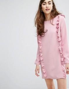 Платье с длинными рукавами и рюшами Sister Jane - Розовый