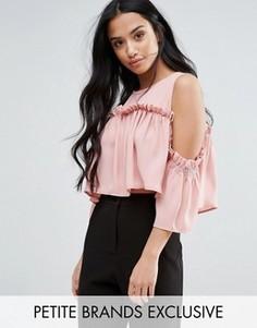 Присборенный топ с открытыми плечами Fashion Union Petite - Розовый