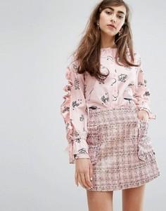 Рубашка с принтом и рюшами Sister Jane - Розовый