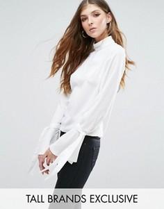 Блузка с расклешенными манжетами и завязками Missguided Tall - Белый