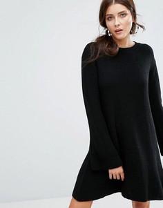 Свободное вязаное платье Boohoo - Черный