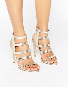 Босоножки на каблуке с эффектом металлик New Look - Золотой