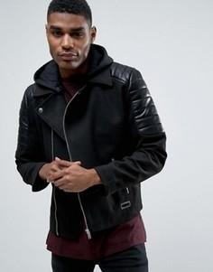 Байкерская куртка из искусственной кожи Black Seven Endell - Черный