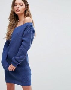 Платье-джемпер с открытыми плечами Boohoo - Синий