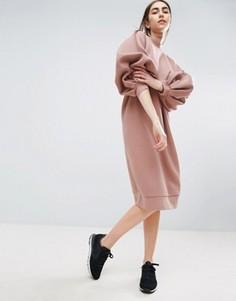Трикотажное платье с пышными рукавами ASOS WHITE - Розовый