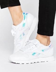 Белые кожаные кроссовки с переливающейся отделкой Reebok Classic - Белый
