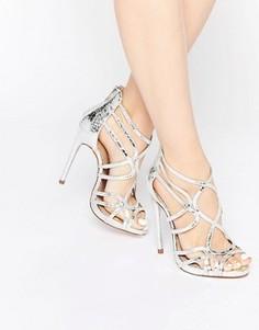 Босоножки на каблуке с решетчатым дизайном ASOS HEARTBEAT - Серебряный
