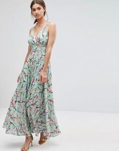 Платье макси с цветочным принтом Darling - Синий