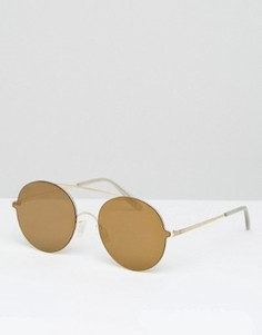 Круглые солнцезащитные очки в металлической оправе ASOS - Золотой