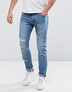 Узкие джинсы с рваной отделкой Only & Sons - Синий