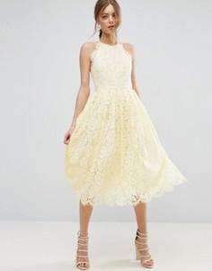 Кружевное платье миди для выпускного с фигурными краями ASOS - Кремовый
