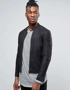 Байкерская куртка из нубука Selected Homme - Черный