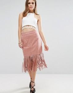 Юбка с бахромой на подоле Glamorous - Розовый