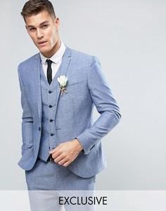 Узкий свадебный пиджак из ткани с добавлением льна в крапинку Noak - Синий