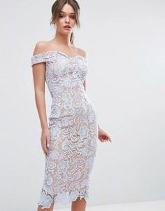 Кружевное платье-футляр миди с открытыми плечами Boohoo - Синий