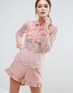 Кружевная юбка с оборками True Decadence - Розовый