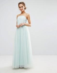 Платье-бандо для выпускного с кружевным лифом Little Mistress - Синий