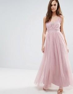 Платье макси со стразами на лифе Little Mistress - Розовый