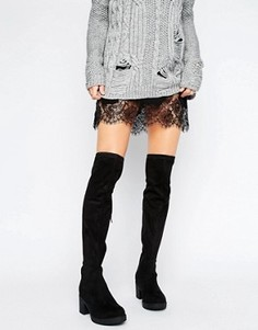 Эластичные ботфорты на среднем каблуке Truffle Collection - Черный