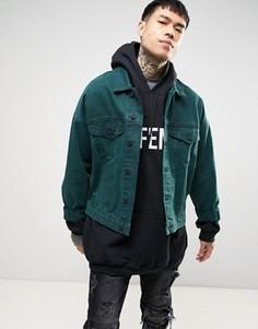 Свободная джинсовая куртка зеленого цвета ASOS - Зеленый