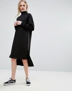 Трикотажное платье миди с высоким воротником ADPT - Черный