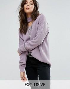 Джемпер с горловиной-чокер и молниями на рукавах Rokoko - Фиолетовый