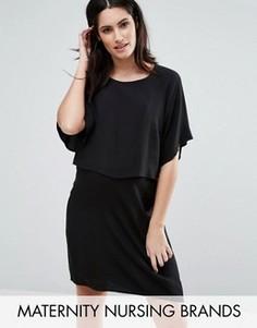 Двухслойное тканое платье Mamalicious Nursing - Черный Mama.Licious