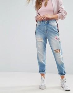 Джинсы в винтажном стиле с цветочной вышивкой New Look - Синий